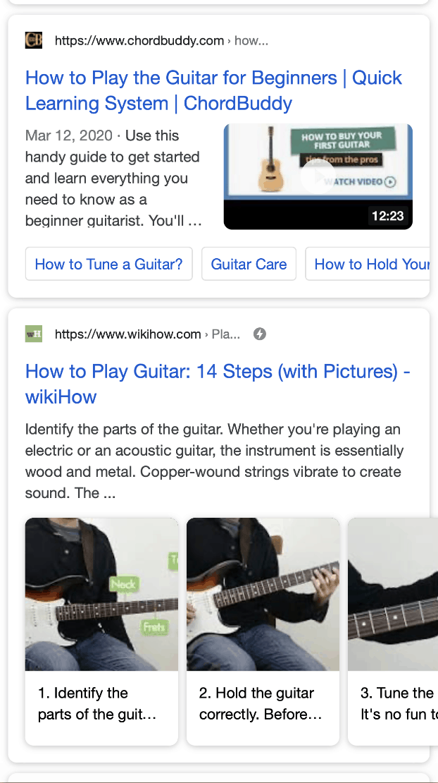 Rich Snippets how to play guitar