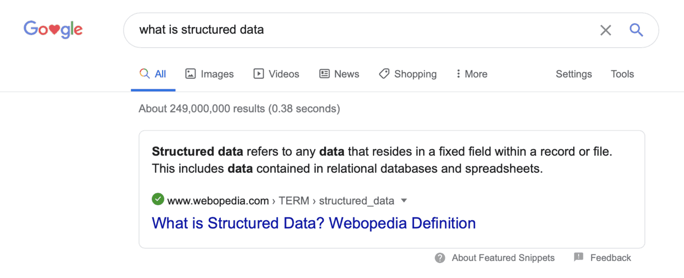 Featured snippets what is structured data