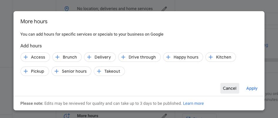 google my business functie orar special