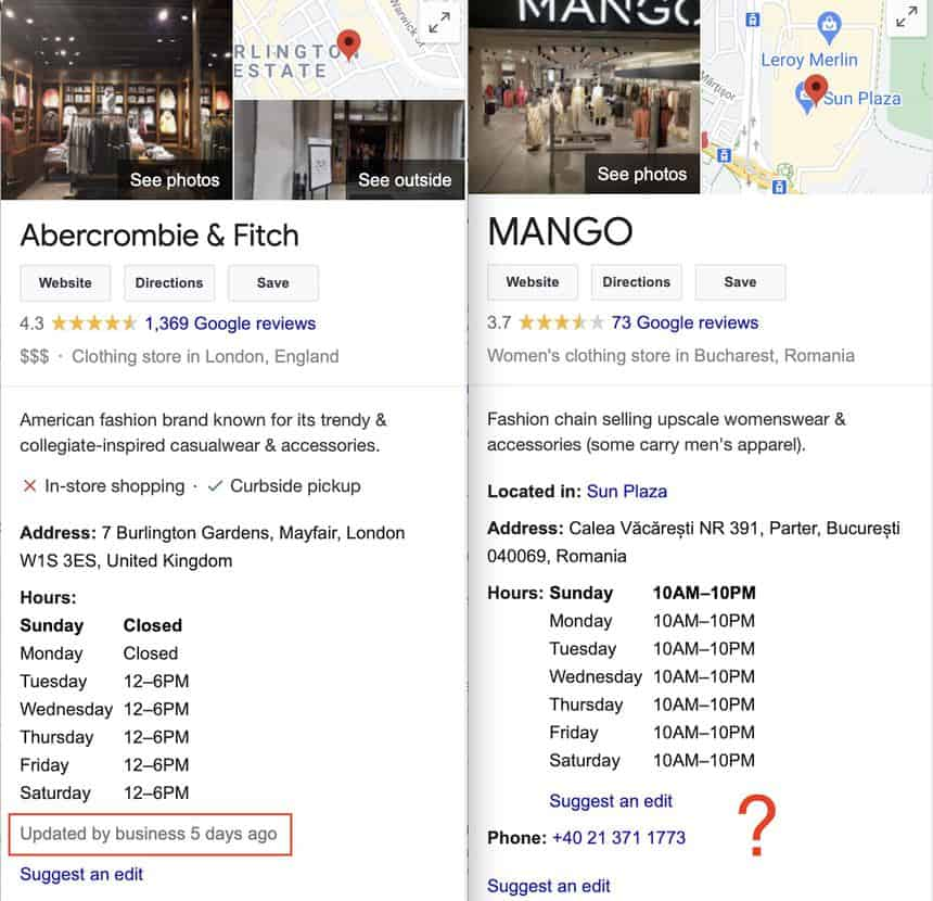 google my business last updated feature