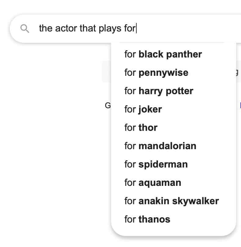 autcomplete the actor that plays for