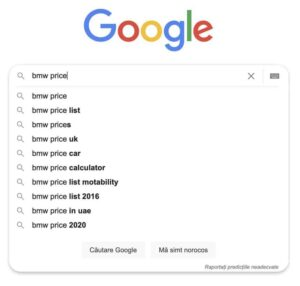 google autocomplete predictions bmw price romania