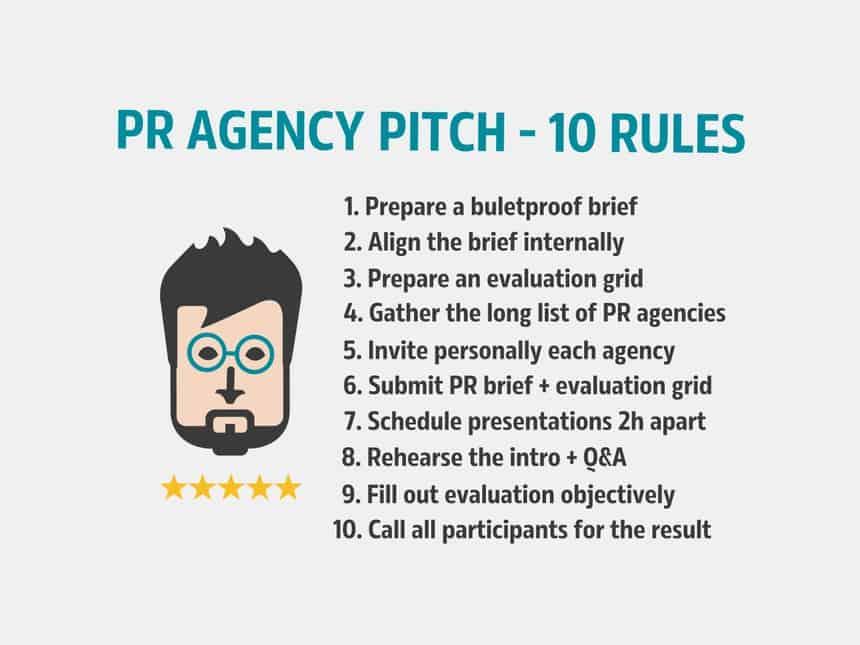 PR agency pitch 10 rules